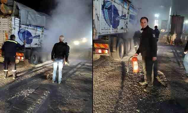 Özel Güvenlik Personeli Kamyonu Yanmaktan Kurtardı..!