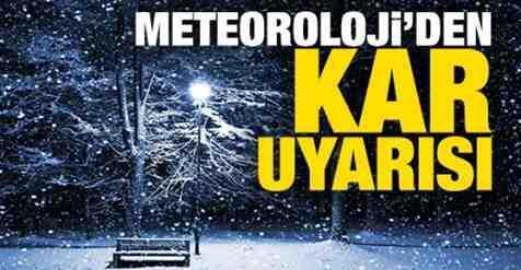 Meteorolojiden Yeni Uyarı.Kar Geliyor..