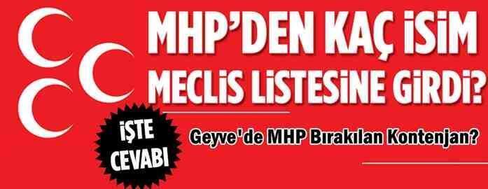 Geyve'de MHP Bırakılan Kontenjan?
